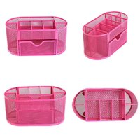 SZS Hot Multifunctional 9 Components Metal Table Storage Box Desktop Organizer Rose Red