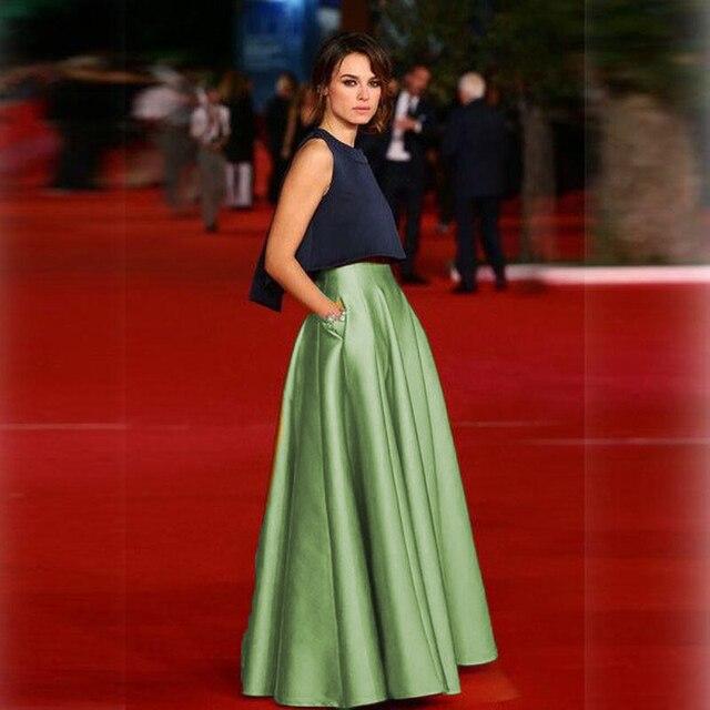 877635390aa5f Falda de satén muy rígida dorada con bolsillo con cremallera estilo moda  faldas formales para mujer