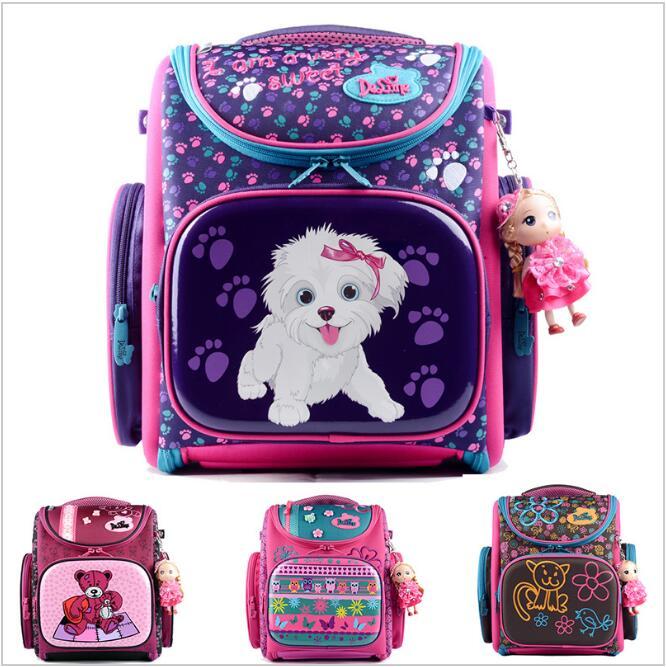 Delune 2016 New European Children School Bag Girls Boys Backpack Cartoon Mochila Infantil Large Capacity Orthopedic