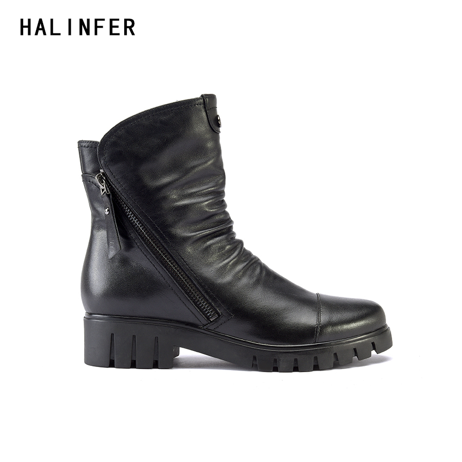 HALINFER 2018 spring autumn genuine leather ankle motorcycle zipper boots shoes women round toe pleated high heels ladies boots 2018 new arrival genuine leather zipper runway autumn winter boots round toe high heels keep warm elegant women ankle boots l29