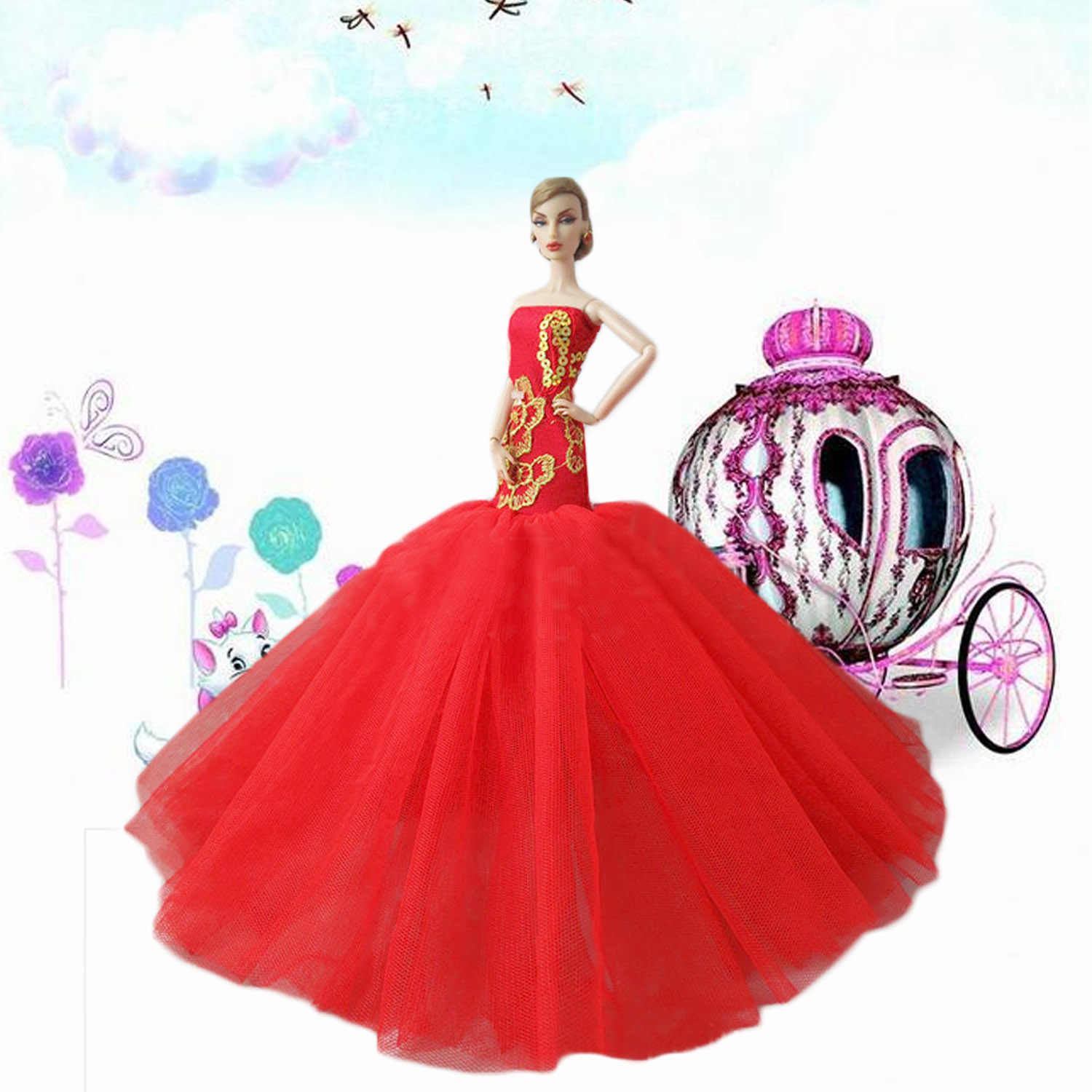Besegad Doll Red Lace Sequin Long Tail Bridal Wedding Dress Princess  Fishtail Dresses Evening Gauze Gown 92bdd70fcbd9