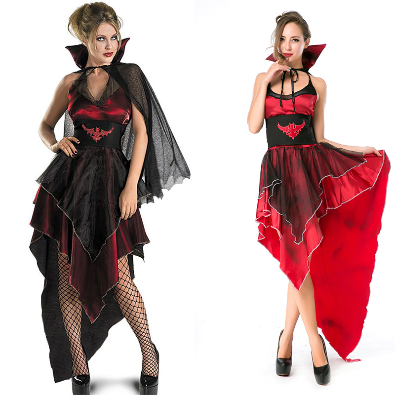 Halloween Zombie Masquerade Costumes Evil Vampire Queen Cosplay Black Gauze Irregular Ghost Bride Dress Vampire Bat Costume