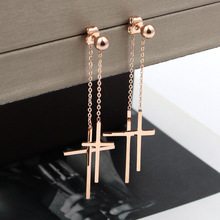 2018 Fashion Love Double Cross Long Chain Drop Earrings Rose Gold Color Stainless Steel Women Party Gift