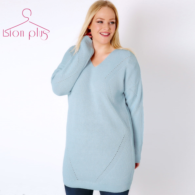 8accd54ffc Light Blue Long Women s Sweater Oversized 5XL 4XL XXXL 2017 Autumn Back  Hollow Out V-Neck Female Sweaters Loose Style sweater