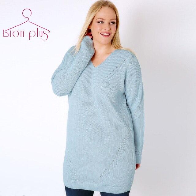 Light Blue Long Women's Sweater Oversized 5XL 4XL XXXL 2017 Autumn ...
