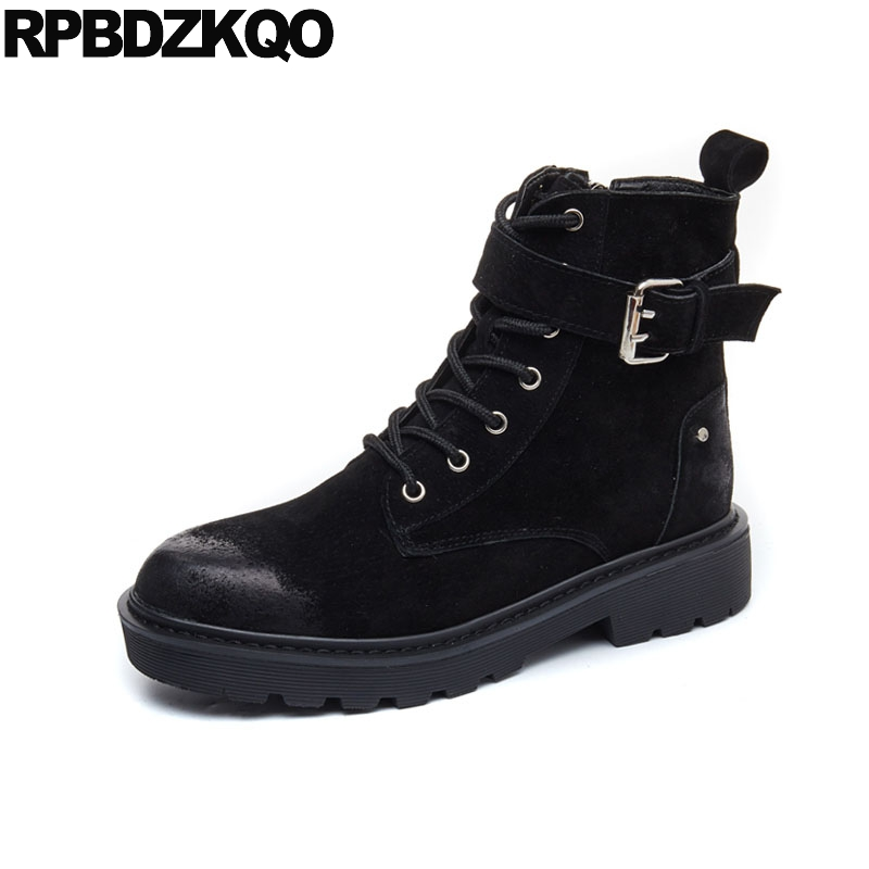 Lace Up Shoes Military Fashion Platform Metal Flat Combat Black Autumn Female Ankle Side Zip Boots Fall Chinese Short New 2017 booties combat lace up flat suede round toe fall military front casual ankle boots autumn work women shoes gray low heel 2017