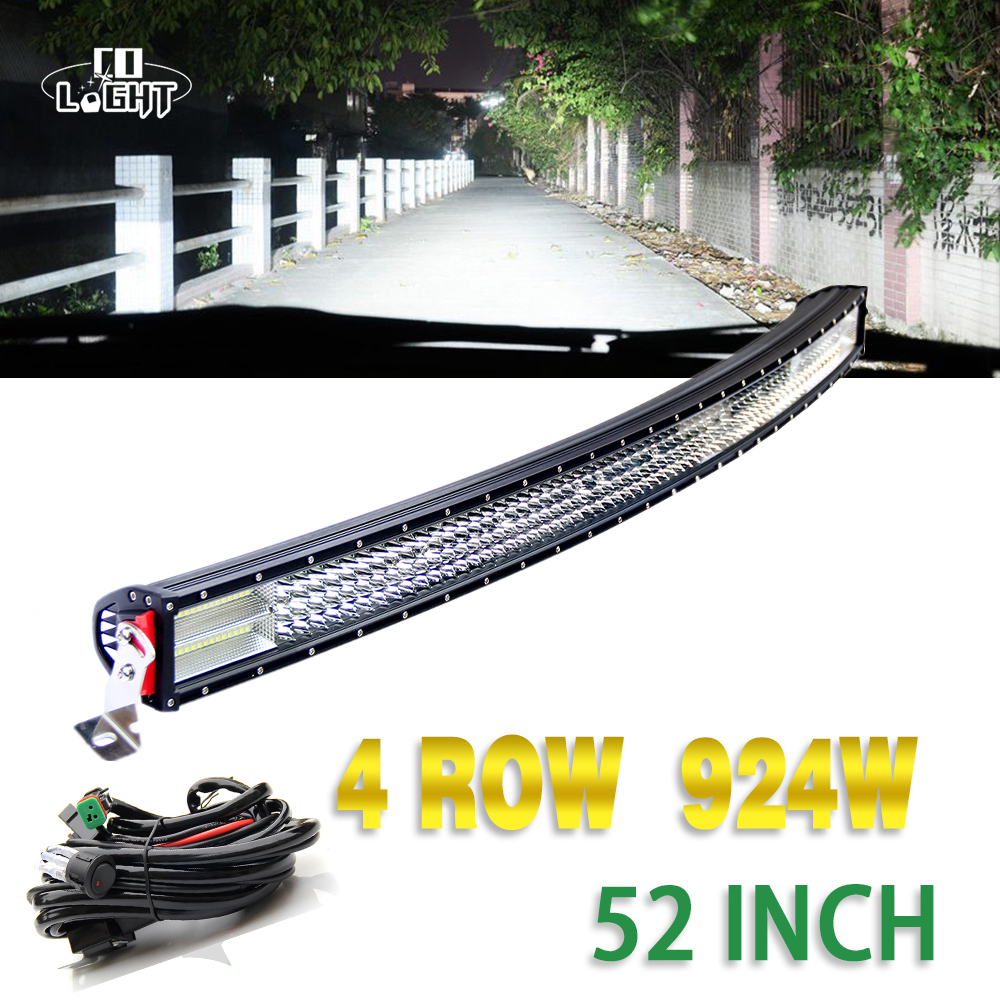 CO LIGHT 52'' Led Bar 924W Combo Beam 4 Row 8D Curved 10-30V for Auto 4X4 ATV Jeep Wrangler Volkswagen Lancia Fiat Renault Decia