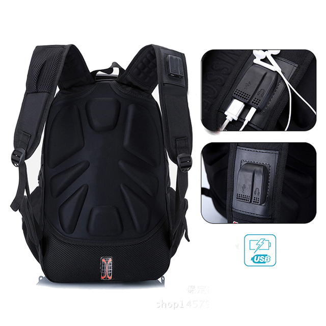 MAGIC UNION Laptop Bag Male External USB Charge Backpacks Anti-theft Waterproof Backpack Clutch Bag Set with Lock Raincover 3
