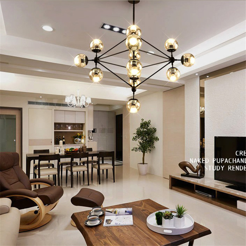 5 10 15 21 head dining room decoration led glass for Dining room globe lighting