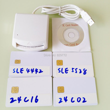 Usb emv inteligente ic chip cartão escritor leitor suporte i2c memória sle5528 sle4442 sle4428 sle6636 at88sc1608, at45db041 smartcard