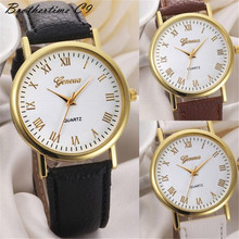 2016 clock Geneva Unisex Watches Men Women Leisure Dial Faux Leather Band Roman Numerals Quartz WristWatch reloje mujer