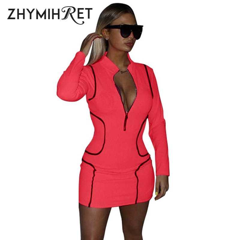 ZHYMIHRET 2019 неоновый Цвет летнее облегающее платье контрастных цветов с мини-юбкой и длинным рукавом облегающее платье на молнии спереди сексуальная женская одежда для вечеринки