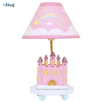 Lámparas de Mesa creativas para niños forma de castillo de resina para la casa de la princesa sala de estudio luz para sala infantil lámpara de escritorio de lectura romántica