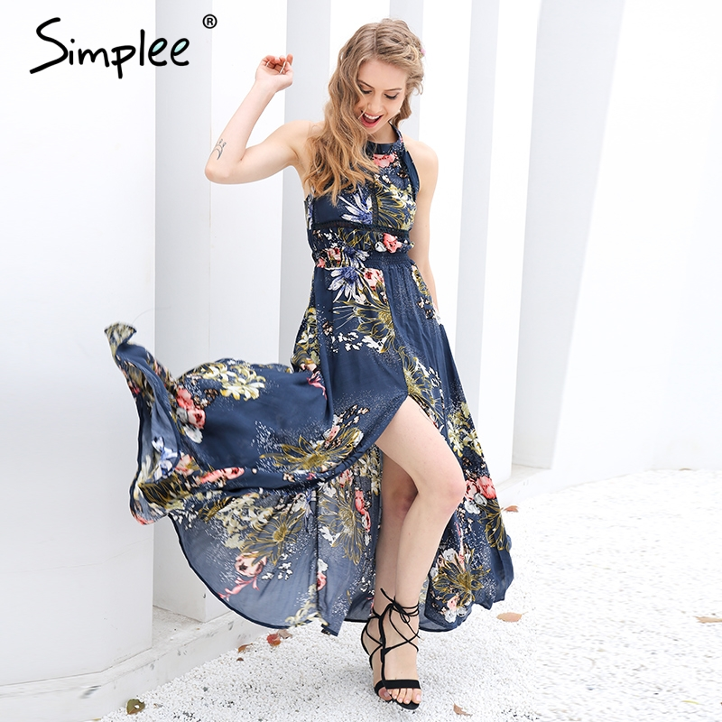 Simplee lace up halter largo floral dress mujeres 2017 verano chic backless del