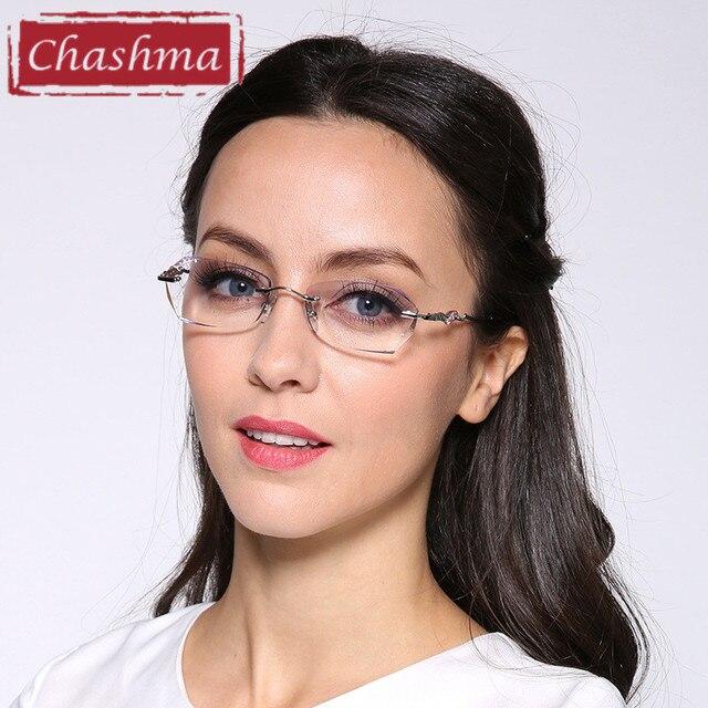 0fbfda61ee0318 Chashma Marque Ttianium Sans Monture Lunettes Dimond Coupé Teinte Lentilles  De Couleur Femmes Élégant Sans Cadre