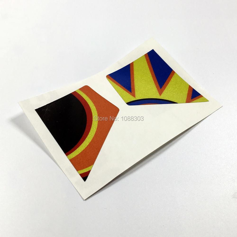 Car visor sticker designs - 1 Pair Motorcycle Helmet Visor Rossi Sun Moon Car Sticker Decals For Corsa Pista Only