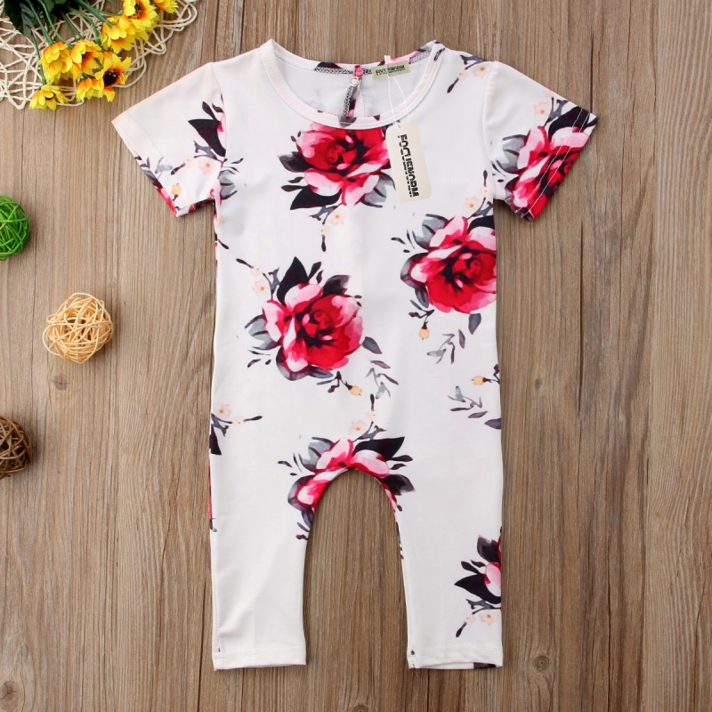 Newborn Infant Kids Baby Girls Floral Romper Jumpsuit Clothes Outfits Baby Girl Long Sleeve Printed Romper White