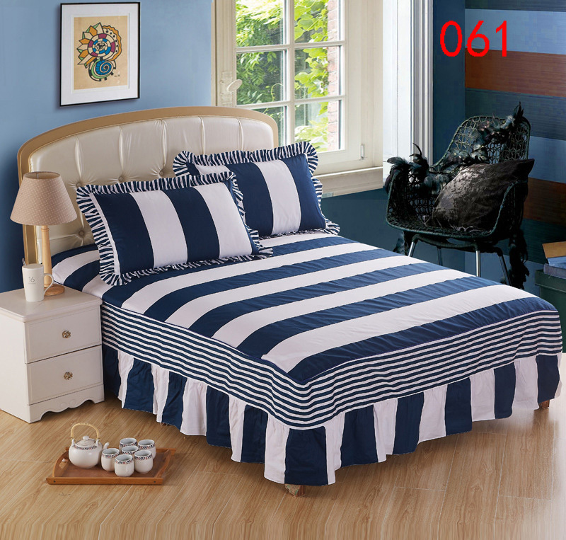 Home White Blue Striped Cotton Bed Skirt Mattress Cover