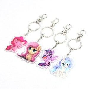 Image 3 - New 5.5cm My Little Pony Toys Charm Twilight Sparkle Rainbow Dash Fluttershy Pendant Key Holder Pony Keychain Party Supplies