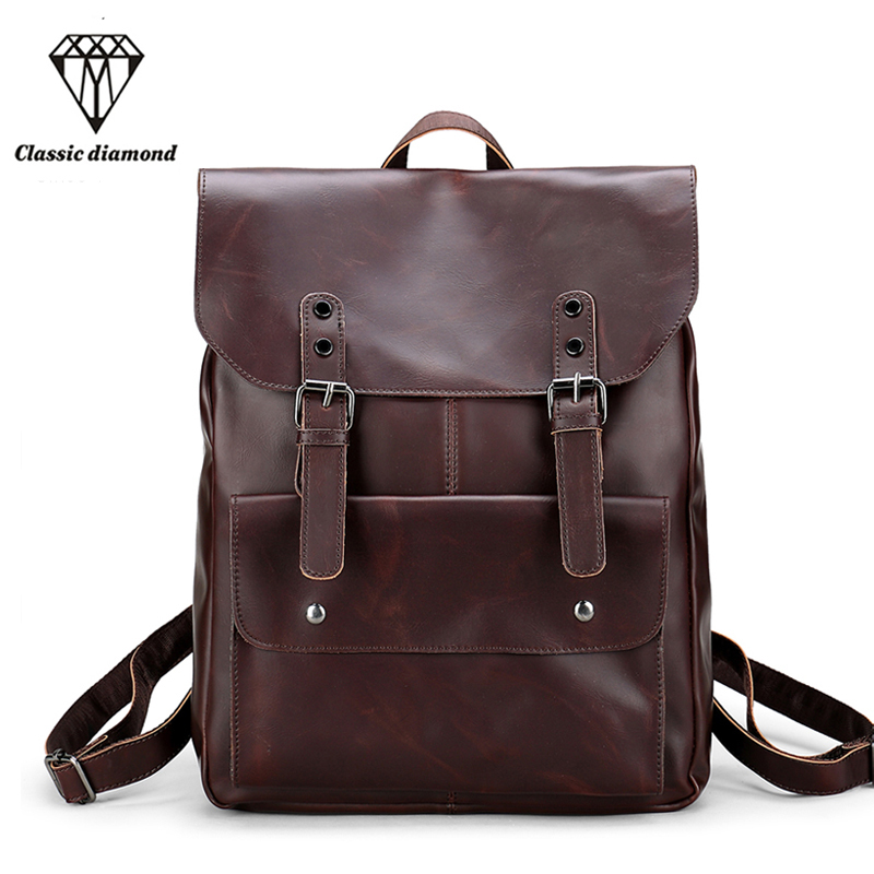 Fashion Men Business Vintage Backpack Men Backpacks For School PU Leather Male Fashion Travel Shoulder Bags 14 inch Laptop 2017 14 15 15 6 inch flax linen laptop notebook backpack bags case school backpack for travel shopping climbing men women