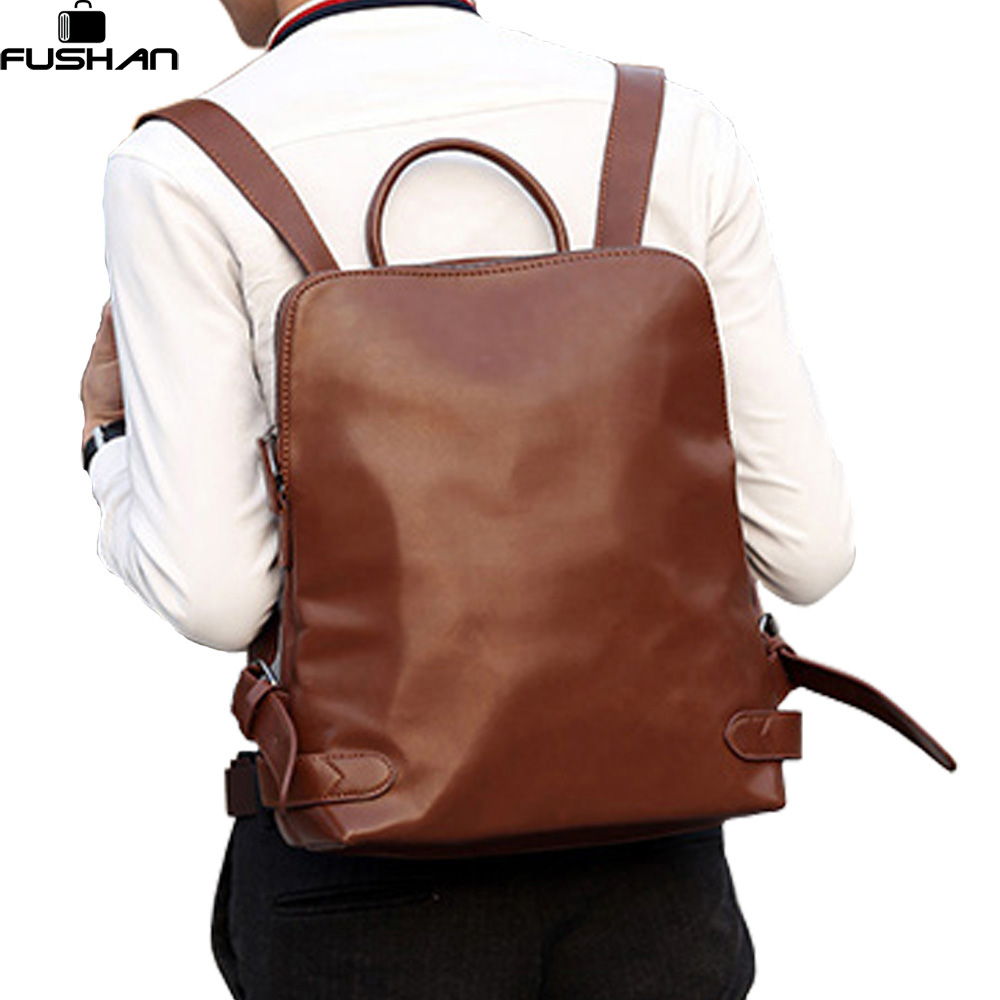 New 2017 Fashion Men PU Leather Backpack High quality Men's travel bags Preppy Style Men school bag Casual Rucksack bags mochila new men s pu leather solid business backpack fashion casual travel high capacity