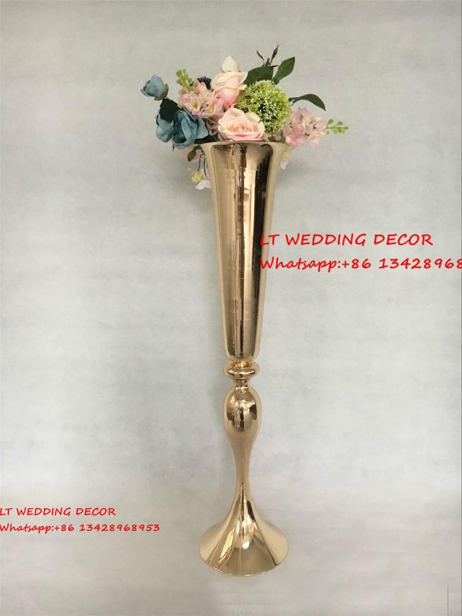 10pcs/lot gold wedding table metal centerpiece flower pillar flower ...