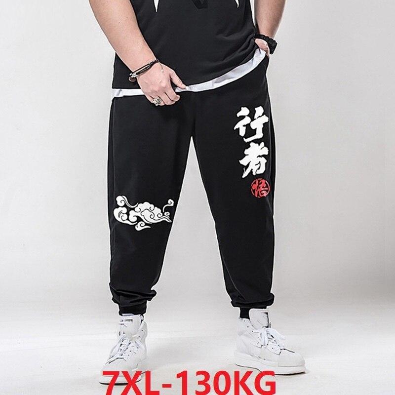 Big 5XL 6XL Summer Men Sweatpants Chinese Character Style Pants Sports Letter Plus Size 7XL Highwaist Elasticity 50 Mens Pants