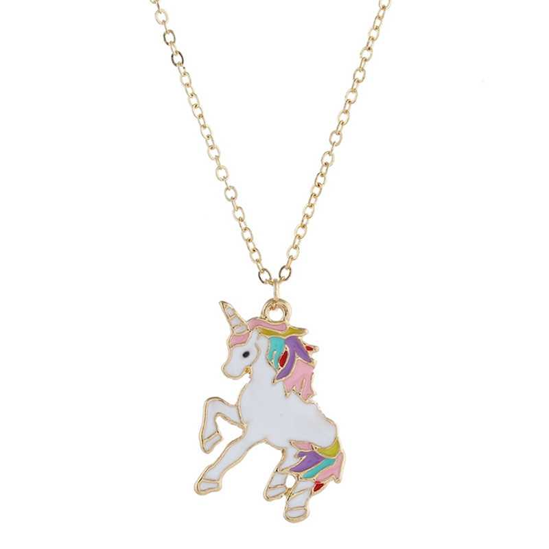 Women Girls  Cartoon Horse Chocker Necklaces Kids Cute Animal Unicorn Pendant Necklaces Party Enamel Jewelry Accessories
