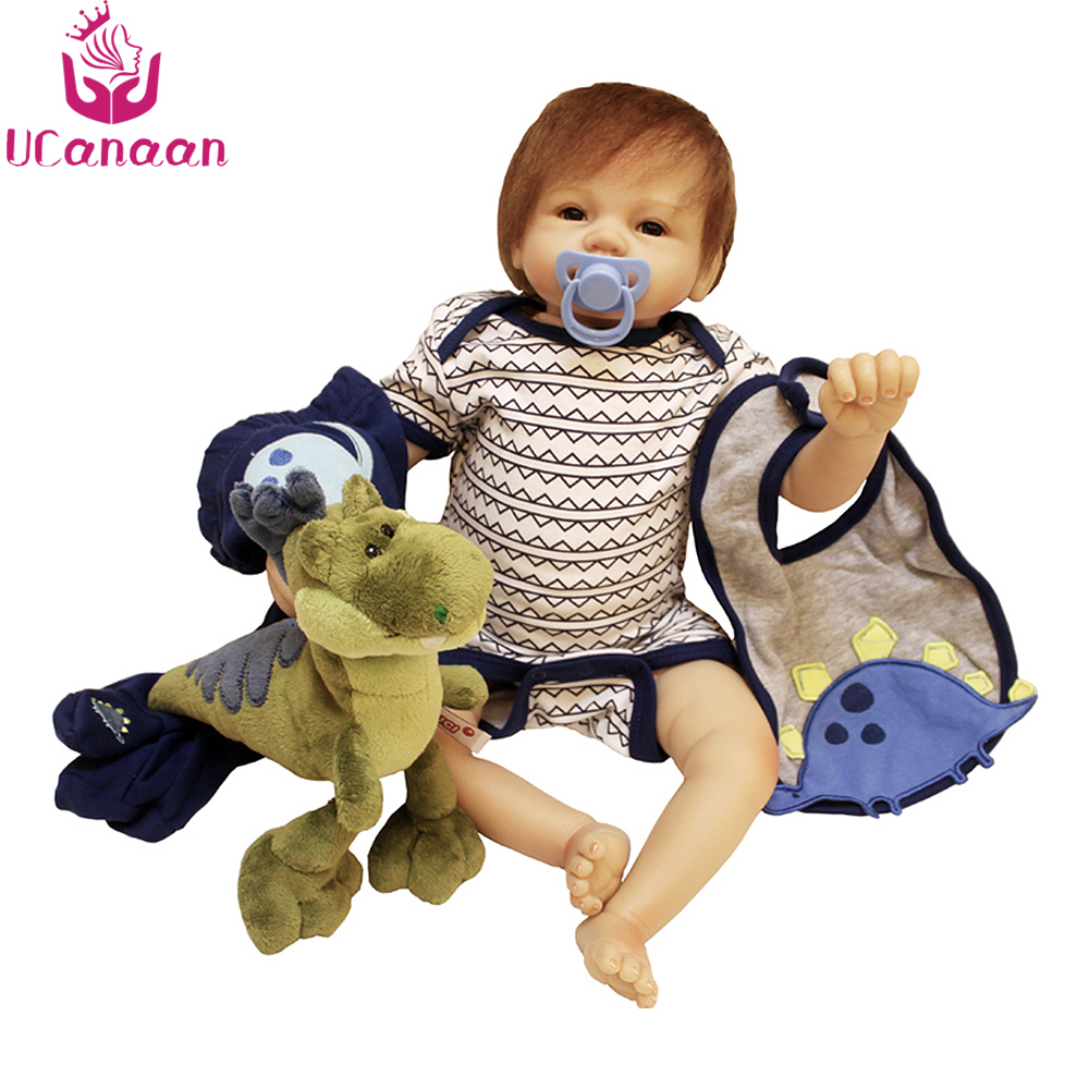 цены UCanaan 55CM Silicone Dolls Reborn Soft Cloth Body Baby Toys For Children Baby Alive Doll For Girls Boneca New Born Toy