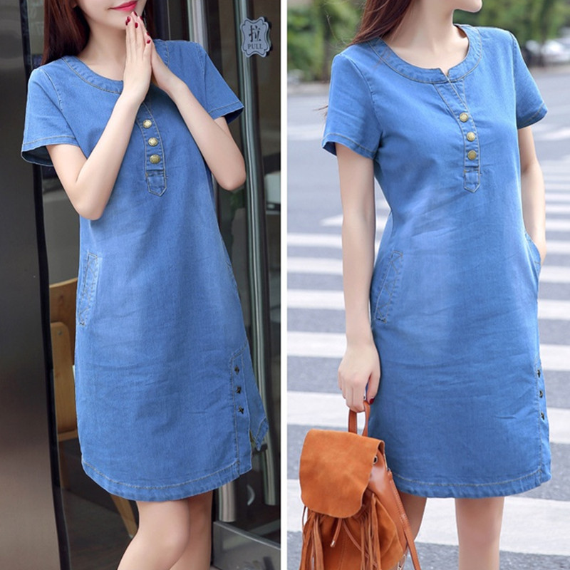 93d8bca5e4f Korean denim dress for women 2019 new summer casual jeans dress with pocket  slim Short sleeve Vintage denim dress plus size 3XL-in Dresses from Women s  ...