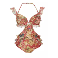 Indoor Swimsuit Bikinis For Women Swimming Suit Plus Size Beach Girls Screen Lace Sexy Broken Flowers Ears Geometric Polyester