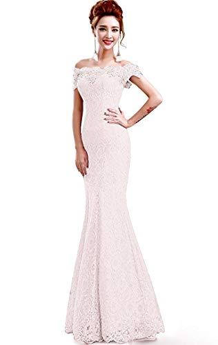 Misshow Русалка вечернее платье Розовое Кружевное длинное вечернее платье Элегантное с открытыми плечами без рукавов robe de Soiree - Цвет: ivory