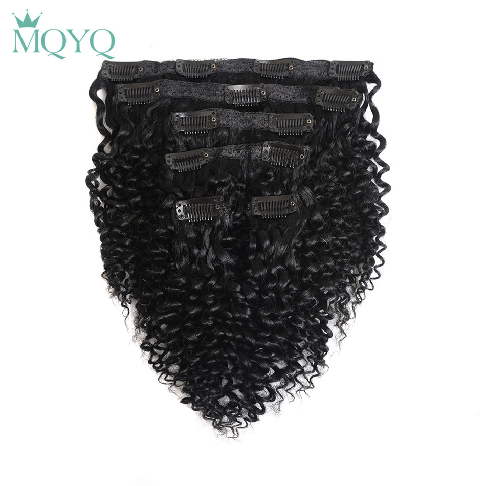 MQYQ Hair Kinky Curly Clip in Hair Extensions #1 Jet Black 100% Real Human Hair 6pcs Brazilian Clip in Hair Extension