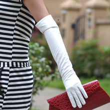 "50cm(19.7"") long plain style fashion real sheep leather evening elbow party white gloves"