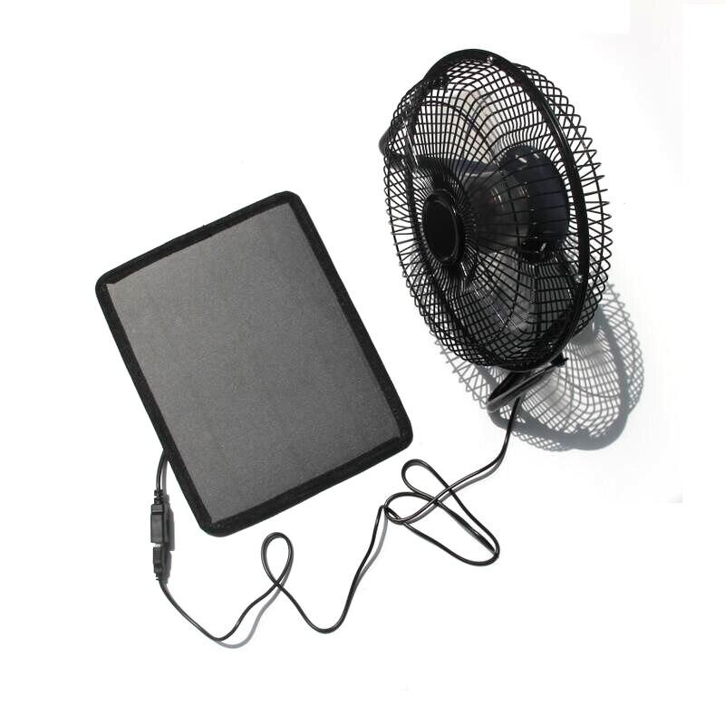 Ventilateur de fer USB ventilateur de Ventilation de 8 pouces + chargeur de panneau solaire 8W alimenté pour les voyages en plein air pêche maison livraison gratuite