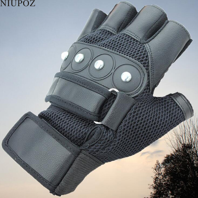 Cycling Punk Gloves Half Finger Mens Women's Summer Bicycle Gloves Guantes Ciclismo Sports Bike Rivets Gloves Mittens G48