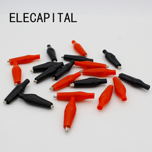 20pcs/lot 35MM Metal Alligator Clip G99 Crocodile Electrical Clamp for Testing Probe Meter Black and Red with Plastic Boot