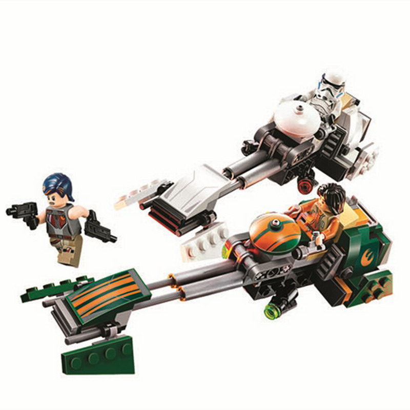 252 piezas Star unids Wars rebeldes Ezra Speeder bicicleta locomotora modelo bloques de construcción iluminan figura juguetes para niños Compatible Legoe