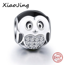 004ce077c Silver charms 925 black penguin beads fit original pandora charm bracelet  pendant diy beads jewelry mkaing 925 christmas gifts