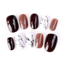 Ins Purple 24pcs/set Phototherapy Nails Acrylic Fake Fingernails Marbling False Medium-long ladys full size nail tips
