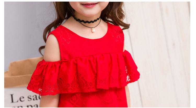 147d6a641b95 summer child clothes baby girl lace dress off the shoulder dresses children  clothing kids princess dress for party flower girl-in Dresses from Mother    Kids ...