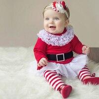 Giáng sinh Bé Gái Quần Áo Set 2017 Toddler Nữ Quần Áo Bộ Tutu Skirt Top + Quần Mùa Thu Bông Dài Tay Kids trang phục