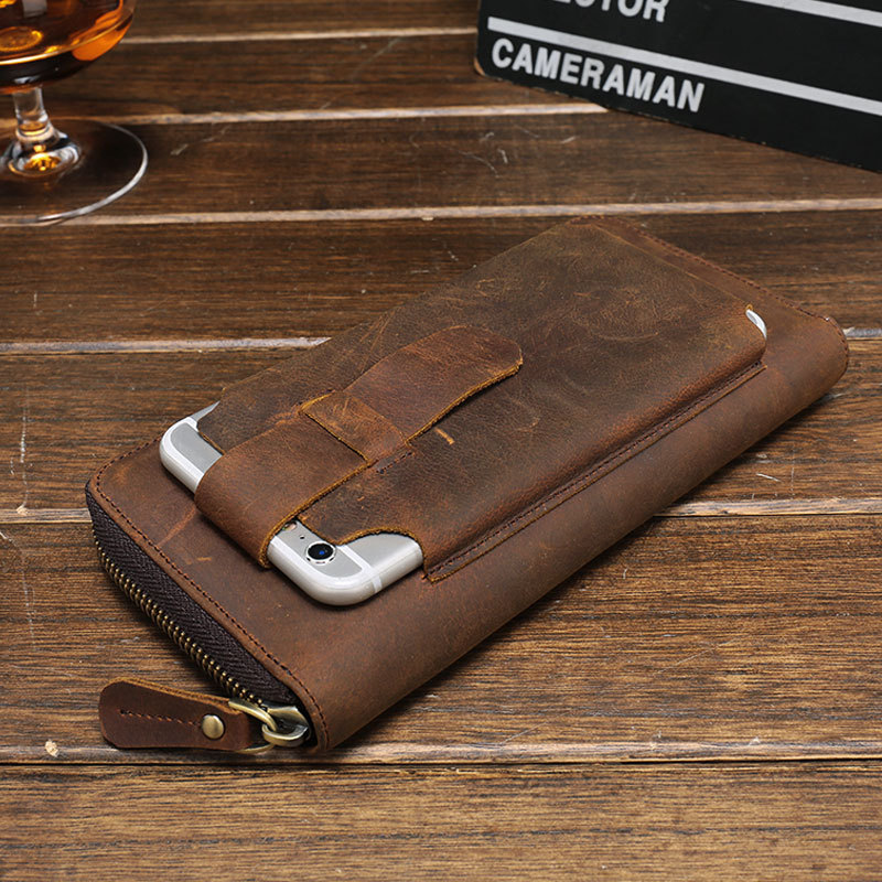 2018 New Men Wallets Vintage Cow Crazy Horse Luxury Leather Male Purse Carteira Masculina Original Brand Cell Phone Pocket C16 weichen top quality cow genuine leather men wallets luxury dollar price short style male purse carteira masculina original brand