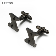 Lepton Stainless steel Letters X Cufflinks for Mens Black & Silver Color Letters X of alphabet Cuff links Men Shirt Cuffs Button igame letters cufflinks silver color fashion english letters design 26 letters copper material free shipping