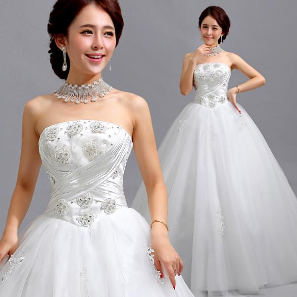 Where To Buy Wedding Gown: Fashion Elegant Luxury Appliques Strapless Off The