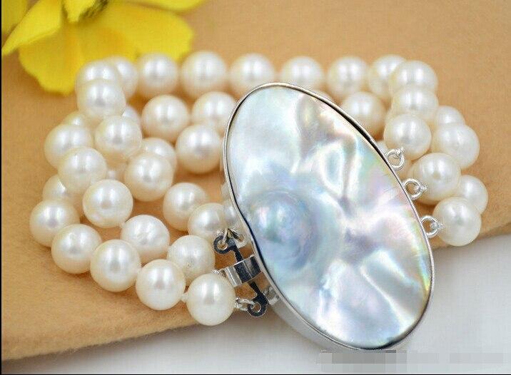Z6447 3 brins 11mm ROND blanc Fw PERLE de culture bracelet mabe fermoir 8inch @ ^ Noble style Naturel Fine jewe GRATUITE nouveau>> livraison s