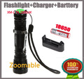 Brightness 2000 Lumens CREE XM-L T6 LED Flashlight Torch 5 Mode Adjustable focus Light + 18650 Battery + Battery Charger