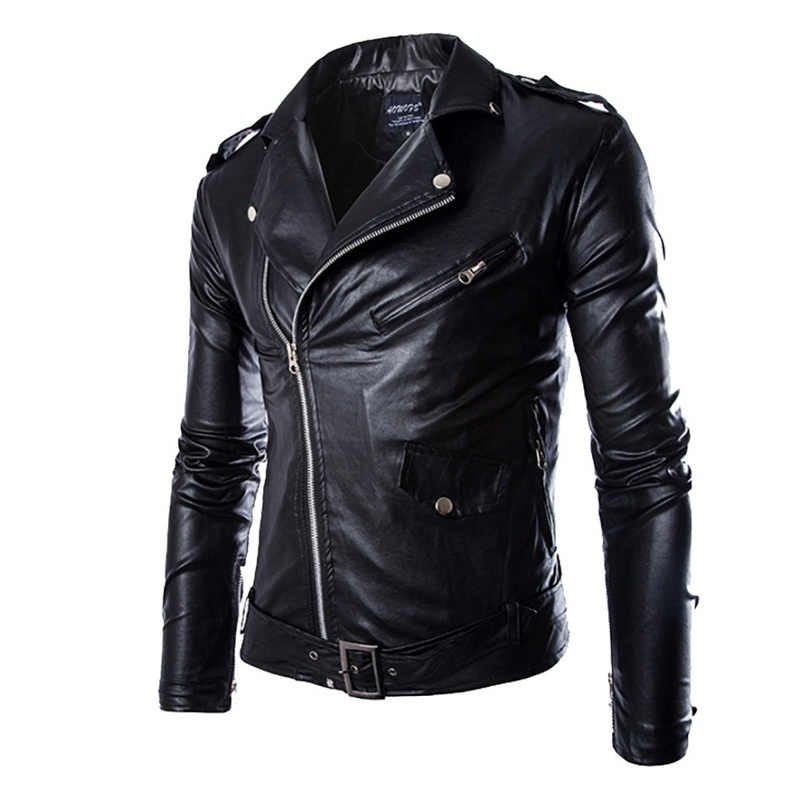 HEFLASHOR  Autumn Men Fashion Motorcycle Leather Jacket Slim Fit Coats Male Casaco Masculino Casual Oblique Zipper Black Jacket(China)
