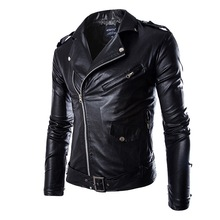 787a988478c8e HEFLASHOR jesień mężczyźni moda motocykl skórzana kurtka slim fit płaszcze  męskie Casaco Masculino Casual ukośny zamek czarna ku.