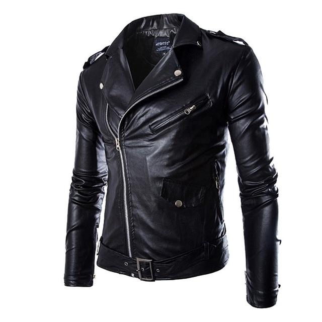 HEFLASHOR סתיו גברים אופנה אופנוע עור Jacket slim fit מעילי זכר Casaco Masculino מזדמן אלכסוני רוכסן שחור מעיל